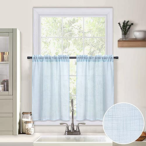 MIULEE 24 Inches Sheer Tiers Kitchen Short Curtains Cafe/Bathroom/Farmhouse Small Window Linen Texture Rod Pocket Drapes, Each 29 x 24 Inches Light Blue 2 Panels