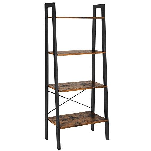 VASAGLE Standregal, Bücherregal, 4 Ebenen Leiterregal, stabiles Metallgestell, einfache Montage, für Wohnzimmer, Schlafzimmer, Küche, Vintagebraun-schwarz LLS44X