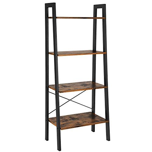 VASAGLE ALINRU Ladder Shelf, 4-Tier Bookshelf, Storage Rack Shelves, Bathroom, Living Room, Industrial Accent Furniture, Steel Frame, Rustic Brown and Black ULLS44X