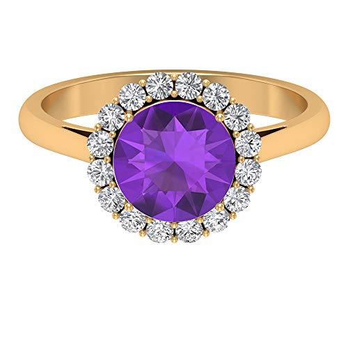 Piedra de nacimiento de febrero — Solitario 8,00 mm anillo de amatista corte redondo, D-VSSI Moissanite anillo, anillo de compromiso halo, 14K Oro amarillo, Size:EU 48