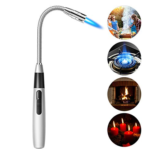 TLWTCT Butane Lighter Jet Flame Torch Lighter Long Flexible Windproof Lighter for Camping Grill BBQ Fireplace (Butane Fuel Not Included)
