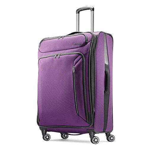American Tourister Zoom Softside Luggage with Spinner Wheels, Purple, Checked-Large 28-Inch,92412-1717
