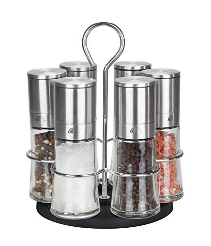 Pfeffermühle Salzmühle 6er Set mit drehbarem Ständer - Echtglas - Keramikmahlwerk - Edelstahl - Gastro Set - ohne Gewürzinhalt - 80ml Edelstahl