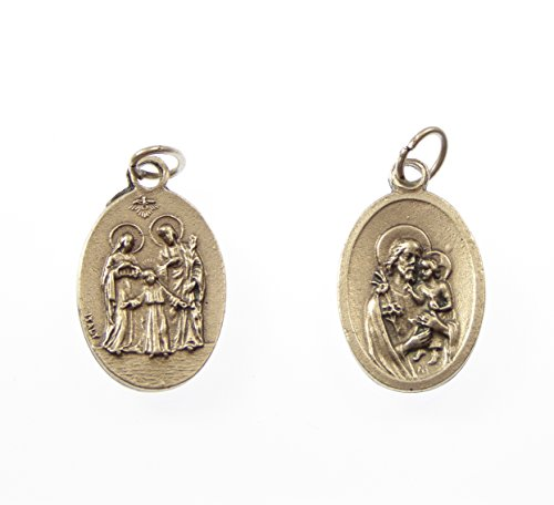 St. Joseph Holy Family Catholic medal pendant - silver colour metal 2cm