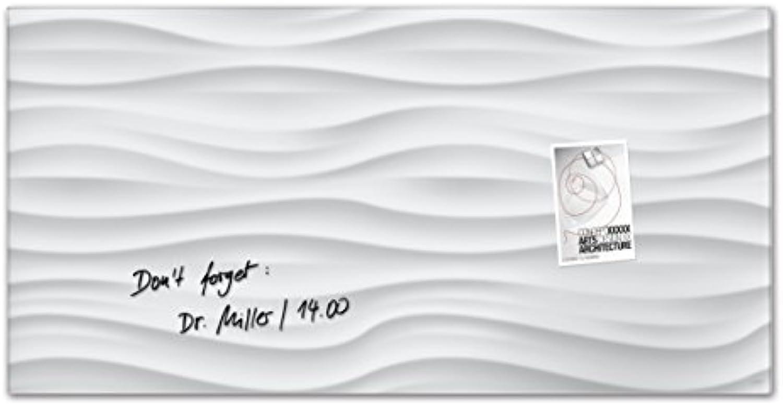 SIGEL GL260 Glas-Magnetboard 91 x 46 cm Weiß-Wave, 3D-Optik, wei   Magnettafel Artverum - weitere Designs Gren