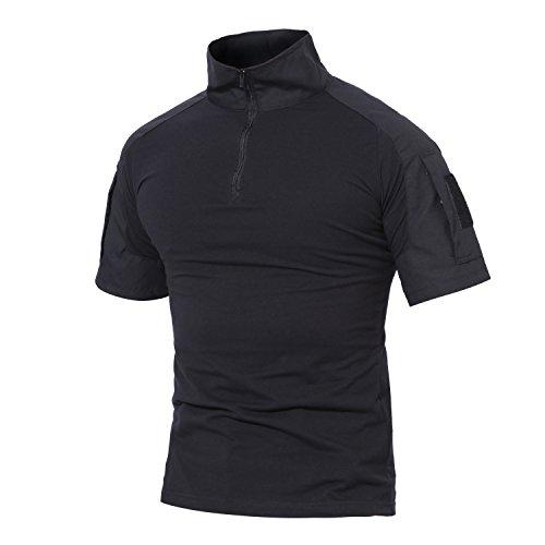 MAGCOMSEN Herren Militär Shirt Taktisch Combat Hemd für Männer US Army T-Shirt Quick Dry Shirt Outdoor Funktionsshirt mit Taschen Schwarz 2XL (Etikett: 5XL)