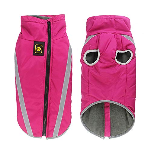 Idepet Waterproof Dog Coat Winter Warm Jacket,Outdoor Sport Waterproof Dog Clothes Outfit Vest for Small Medium Large Dogs with Harness Hole