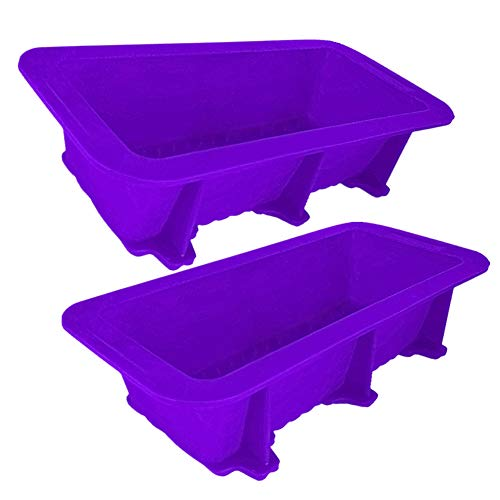 Bread Loaf Pan with Stable Bottom to Prevent Overturning, Non-stick Silicone Bread Pan Mould for Homemade Baking Bread and Cakes,Witok (2, purple)