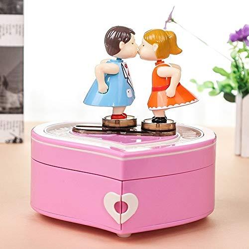Cadeau Music Box Boîte à Bijoux Lovers Dancing Couple Musique Anniversaire boîte Cadeau Bijoux boîte de Rangement Cadeaux de Filles Boîte à Musique MJZGYY (Color : Rose, Size : Libre)