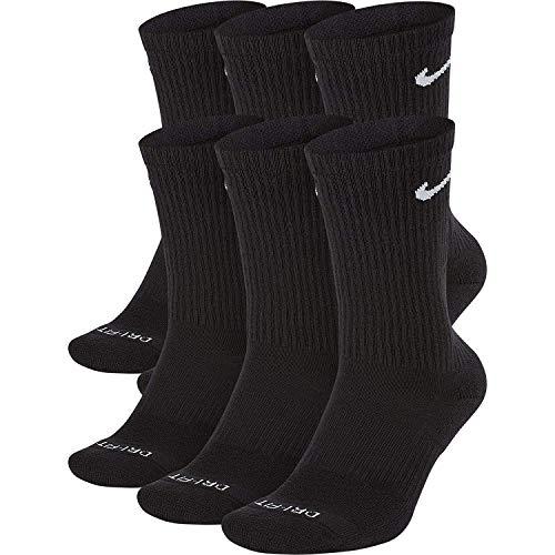 NIKE Dri-Fit Training Everyday PLUS MAX Cushioned Crew Socks 6 PAIR Black with White Swoosh Logo) LARGE 8-12