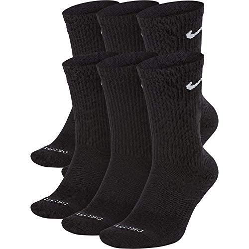 NIKE Dri-Fit Training Everyday PLUS MAX Cushioned Crew Socks 6 PAIR Black with White Swoosh Logo)...
