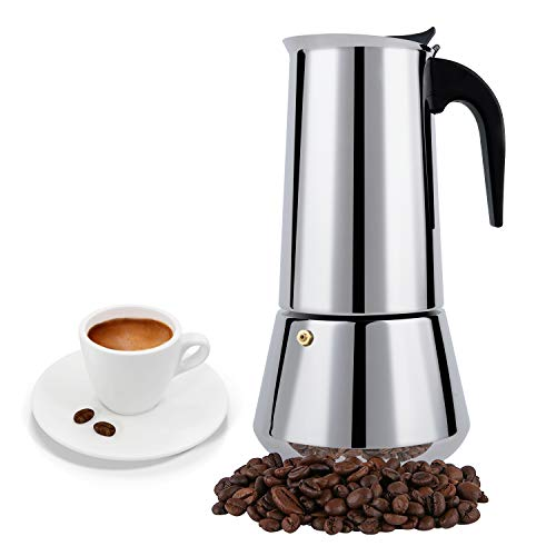 FCUS Stovetop Espresso Maker, Moka Pot, 12 Cup Percolator Italian Coffee Maker, Classic Cafe Maker, Stainless Steel, Suitable For Induction Cookers