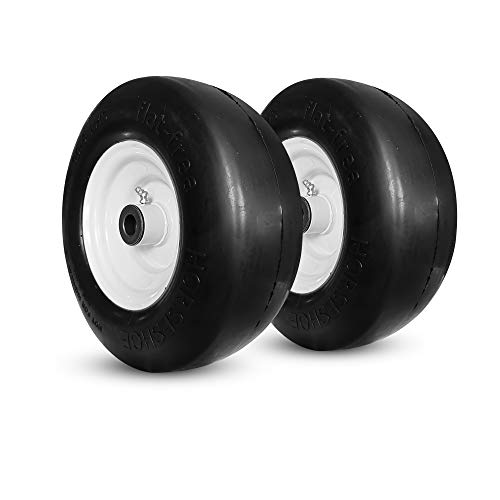 Horseshoe Two (2) New 11x4.00-5 Flat-Free Smooth Tires w/Steel Rim for Zero Turn Lawn Mower Garden Tractor 114005 T161 -hub 3'-5' -Bore 5/8' 1/2'