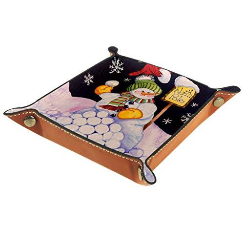 YATELI Caja de Almacenamiento pequeña, Bandeja de Valet para Hombre,Northpole Decorativo Invierno muñeco de Nieve Cardenal,Organizador de Cuero para Llaves de Caja de Monedas