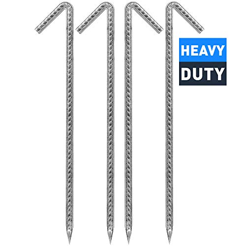 Lakesstory Extra Strong Tent Pegs – Galvanized Heavy Duty Tent Stakes – 12 inch Tent Stakes – Serve Well as Garden Stakes, Fence Stakes, Sand Stakes