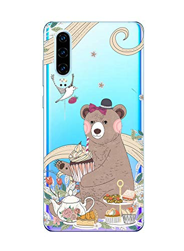 Oihxse Mode Case Compatible pour Realme 5 Pro/Realme Q Coque Transparent Silicone Gel TPU Bumper Animal Motif Dessin Cover Ultra Mince Crystal Clear Antichoc Protection Couverture,Ours 1