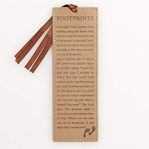 Christian Art Gifts Brown Faux Leather Bookmark | Footprints In The Sand Poem Inspirational Bookmark for Men and Women w/Satin Ribbon Tassel