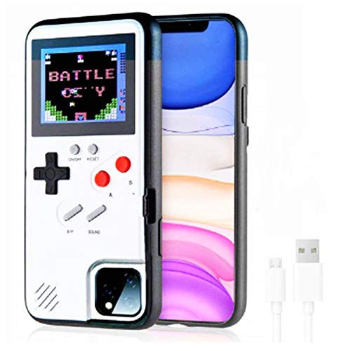 Retro Handheld Gaming Phone case-Retro 3D Phone case, with 36 Mini Games, self-Powered, Full Color Display, iPhone Shockproof Video case, iPhone7-11pro Max (White-iphoneXSMAX)