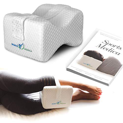 Almohada para las rodillas desarrollada por doctores - Cuña ortopédica viscoelástica para dormir de lado, ciática, dolor de espalda baja - Almohada para piernas para dormir de lado - Manual incluido