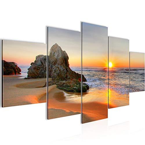 Runa Art - Bilder Sonnenaufgang Strand 200 x 100 cm 5 Teilig XXL Wanddekoration Design Orange 609551a