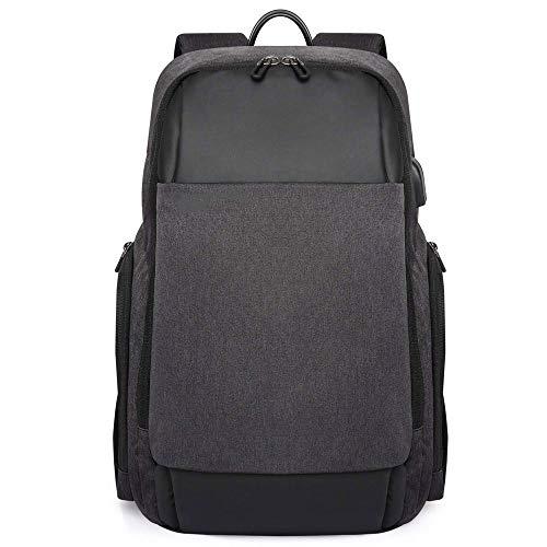 FXXYS Rucksack-Laptop-Rucksack Anti-Diebstahl-wasserdichte USB-Anschluss Universität Lernen Computer Bag Ultra-dünner Geschäfts-Rucksack for 15,6-Zoll-Laptop-Large (Color : Black)
