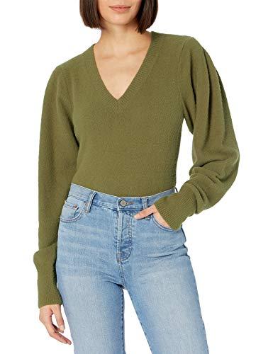 The Drop Pullover Edith für Damen, mit V-Ausschnitt und plissierter Schulterpartie