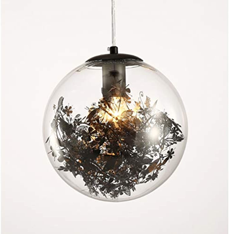 Nordic Kronleuchter, Creative Glass Ball Kronleuchter LED Schlafzimmer Wohnzimmer Wohnzimmer Dekoration Lampe, Gold (Farbe   Schwarz-20)