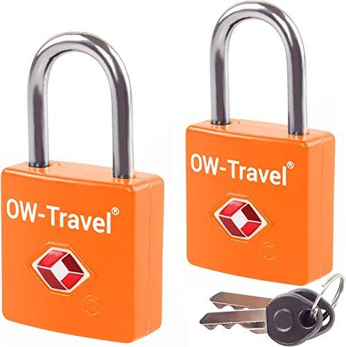 Schloss mit Schlüssel Kofferschloss Vorhängeschloss Gepäckschloss Sicherheitsschloss Schlüsselschloss DIEBSTAHL SICHERES Lock TSA USA Schloss für Reise Koffer Spind Rucksack Luggage: 2 Set Orange