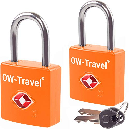 OW-Travel Lucchetto con Chiavi TSA per Valigie e Bagagli da Viaggio per Armadietto Valigia Accessori da Viaggio Aereo Bagaglio Borse Trolley USA y Palestra (Lucchetti Serrature con Chiavi, Arancia 2)