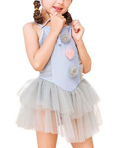 Vestido Flor de Conjunto Bañador Tutú Traje de Baño Ropa de Natación Verano para Niña Gris 2XL
