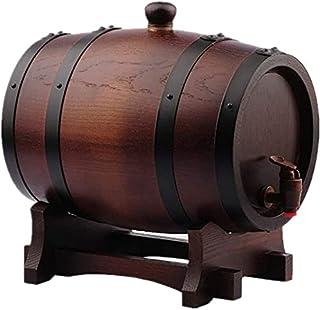 WSVULLD Beer Despenseurs Chêne Whiskey Barrel 5L, Distributeur d'eau de réservoir à vin sans Doublure Convient au vin Bras...
