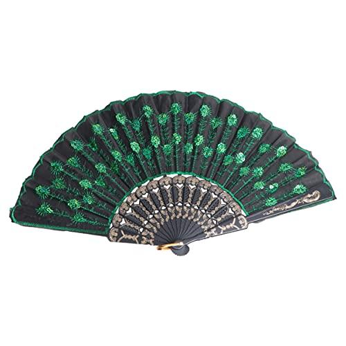 HEALLILY Ventilador Plegable- Ventilador de Mano con Patrón de Pavo Real Vintage de Seda con Lentejuelas Verdes para Mujer Dama 1 Pieza (Verde)