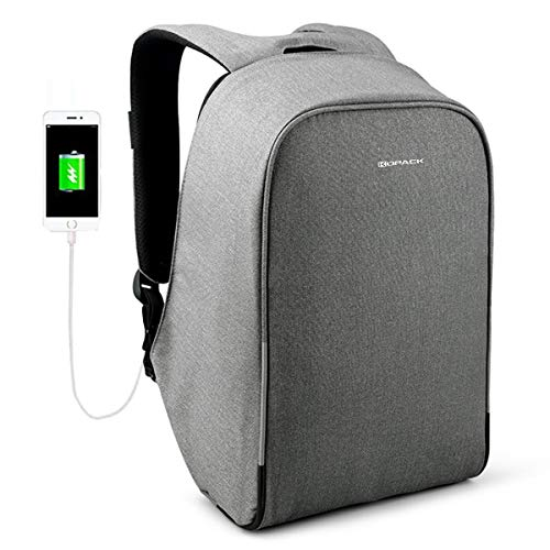 KOPACK Waterproof Anti Theft Laptop Backpack with USB Charging Port and Rain Cover Business Travel Backpack bag for Men Women Airport Friendly 15.6 inch Grey