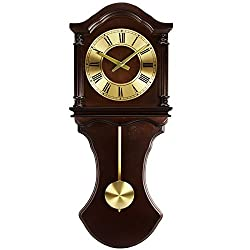 Bedford Clock Collection BED1712 Wall Clock with Pendulum and Chimes, Chocolate Wood