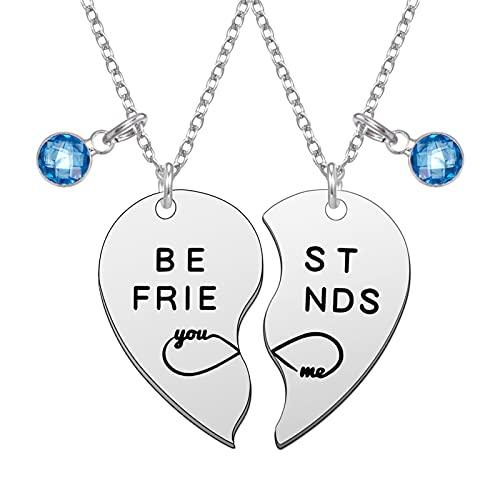 Auidy_6TXD 2 Pcs Best Friend Necklaces, Friendship Stainless Steel Pendant...