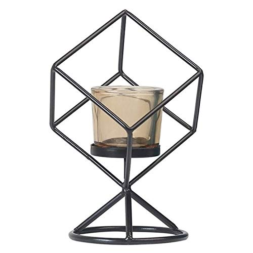 Metal Candle Holder Three-Dimensional Geometric Candlestick Black Iron Pillar Candle Stand Without Candles for Home Living Room Tables Decor