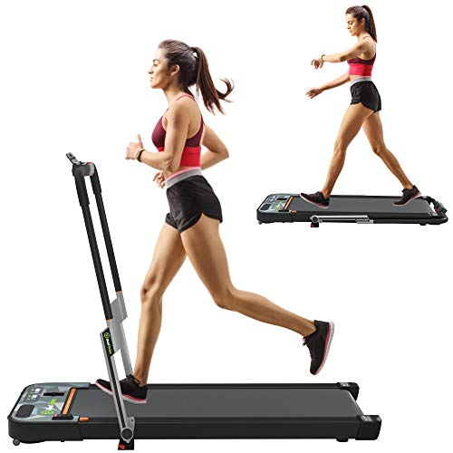 Real Relax 2 in 1 Folding Treadmill, Under Desk Pad Machine,...