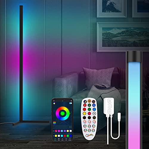 Lámpara de Pie LED Regulable, Lámpara de Pie de Esquina, Lampara Salon de Pie, Luz de Piso RGB , Dormitorio y Oficina Decoración - 157cm