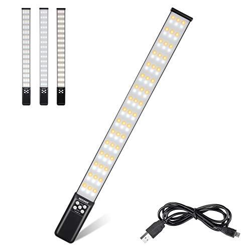 Neewer Barra Luz LED para Video de Mano Iluminación de Video para Fotografía con USB y Bolsa para Grabación de Video Batería Recargable Incorporada Temperatura de Color 3000-6000K/CRI 95+/1000 Lúmenes