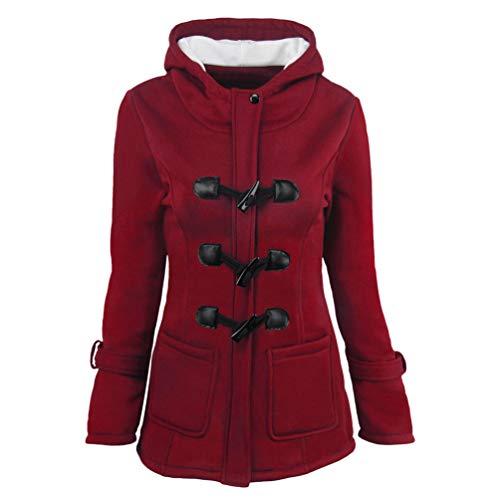 Baijiaye Damen Wintermantel Dufflecoat Mit Kapuze Frauen Warm Winter Lang Jacke Parka Herbst Retro Große Größen Rot
