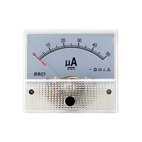 ZHOUMO DC 85C1 μA Amperemeter Analoges Strommessgerät Bedienfeld Messuhr Zeiger Amperemeter Mikroampere Messgerät 50μA 100μA 200μA 300μA 500μA (50uA)