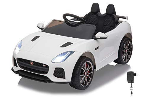 Jamara 460516 Ride-on Jaguar F-Type SVR wit 12 V – 2 snelheden, krachtige motor en accu voor lange rijtijd, micro-SD, USB en AUX-aansluiting, LED-koplampen, verlicht dashboard