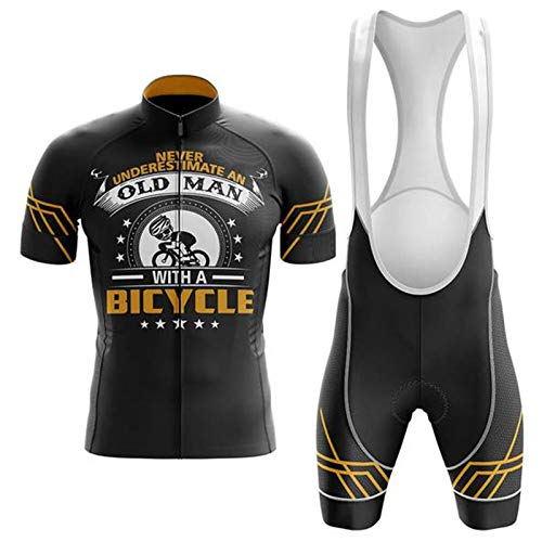 Never Underestimate an Old Man with A Bicycle Cycling Suit Cycling Sets Bike Uniform Summer Cycling Jersey Set Road Bicycle Jerseys MTB Breathable Cycling Clothing (Set,XL)