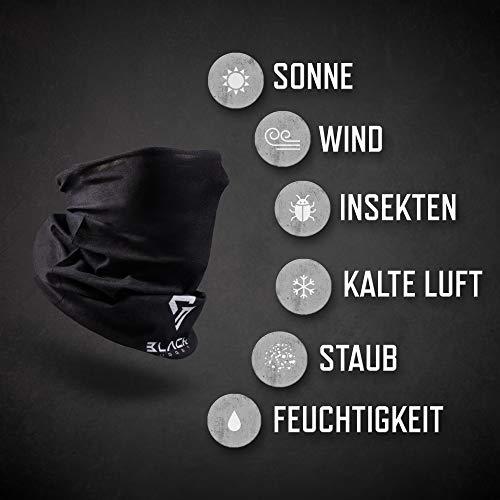 BlackNugget ® Bedrucktes Multifunktionstuch mit ausgefallenem Design - Hochwertige Sturmhaube als Wärm- und Schutztuch - Halstuch, Face Shield, Gesichtsmaske - Schwarz - 3