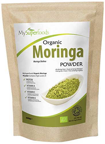 Organic Moringa Powder 500g, Rich Source of Vitamin A and Riboflavin, by MySuperFoods