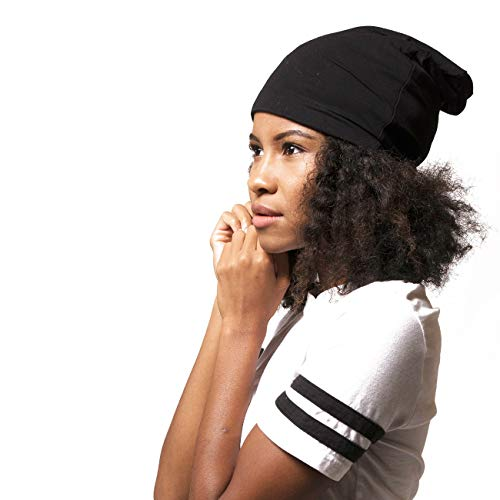 ADAMA Satin Lined Jersey Beanie - Ultra Soft - Fashionable Hipster Chic - Satin Lining Prevents Breakage and Tangling, Day and Night Hair Defense, Black, Standard