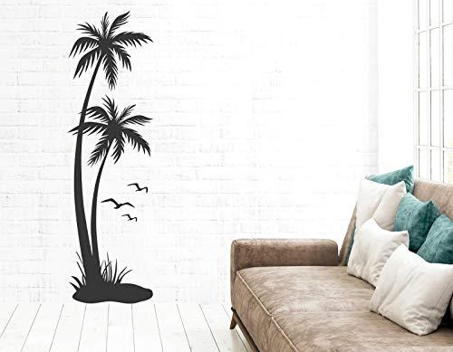 tjapalo® s-pkm433 Wandtattoo Palmen Wohnzimmer Badezimmer Karibik Aufkleber Sticker Deko Palme, Größe: H100xB30cm