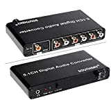 SOUTHSKY 5.1CH Decodificador 192 KHz DAC Convertidor de Audio Digital con Estéreo RCA 3.5MM Volumen Ajustable Adaptador Soporte Dolby AC-3,DTS,2.0CH HDTV DVD Player Blue-Ray DVD PS3 Xbox 360