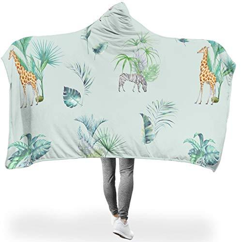 NiTIAN Plant Tropische plant Dieren PrintedHome Tapijt, hooded blanket hert ultra zacht en warm, zachte jas, woondeken, knuffeldeken, slaapdeken, tv-computer, capuchon, werp wrap- voor volwassenen