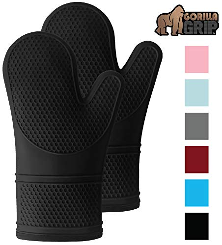 Gorilla Grip Premium Silicone Slip Resistant Oven Mitt Set, Soft Flexible Oven Gloves, Heat Resistant Kitchen Cooking Mitts, Protect Hands from Hot Surfaces, Cookie Sheets, Black Pair, Set of 2